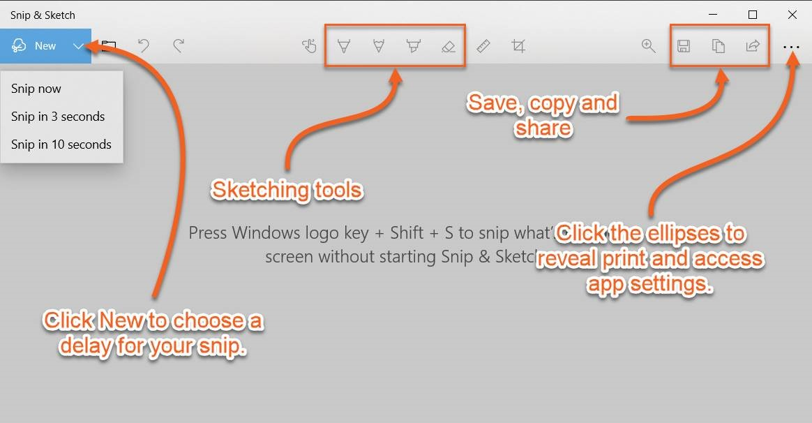 Instructions for using Snip & Sketch