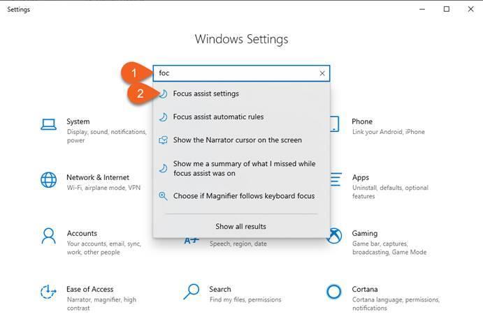 Access focus assist settings