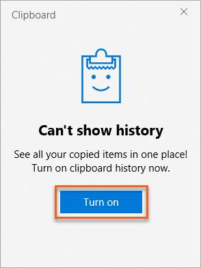 Enable clipboard history
