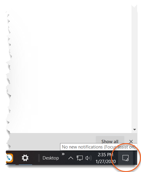 Focus assist: accessing hidden notifications