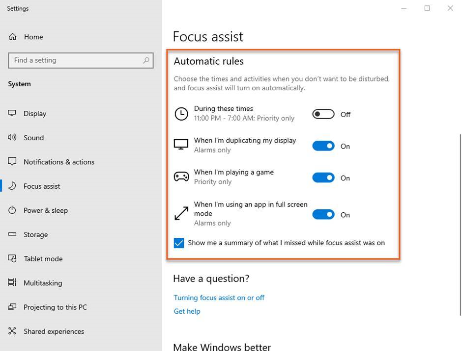 Focus assist: setting up automatic rules