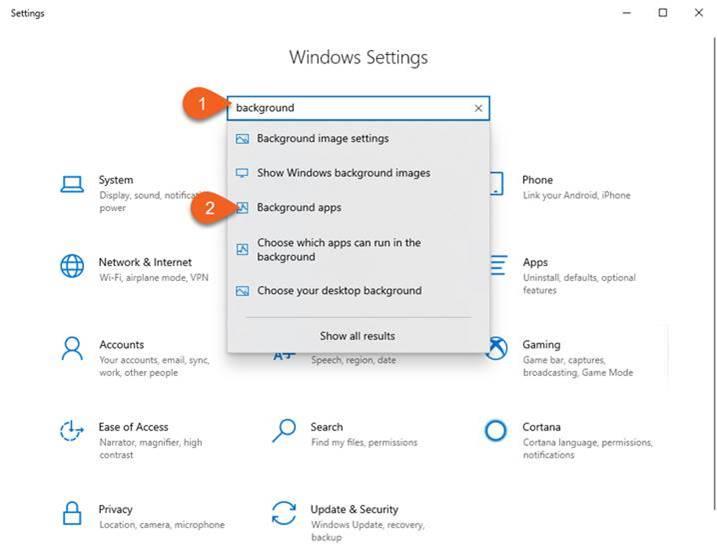 Background apps in Windows 10