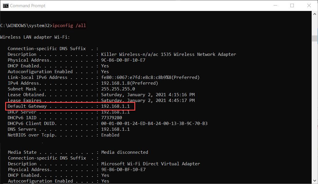 Ipconfig example showing default gateway