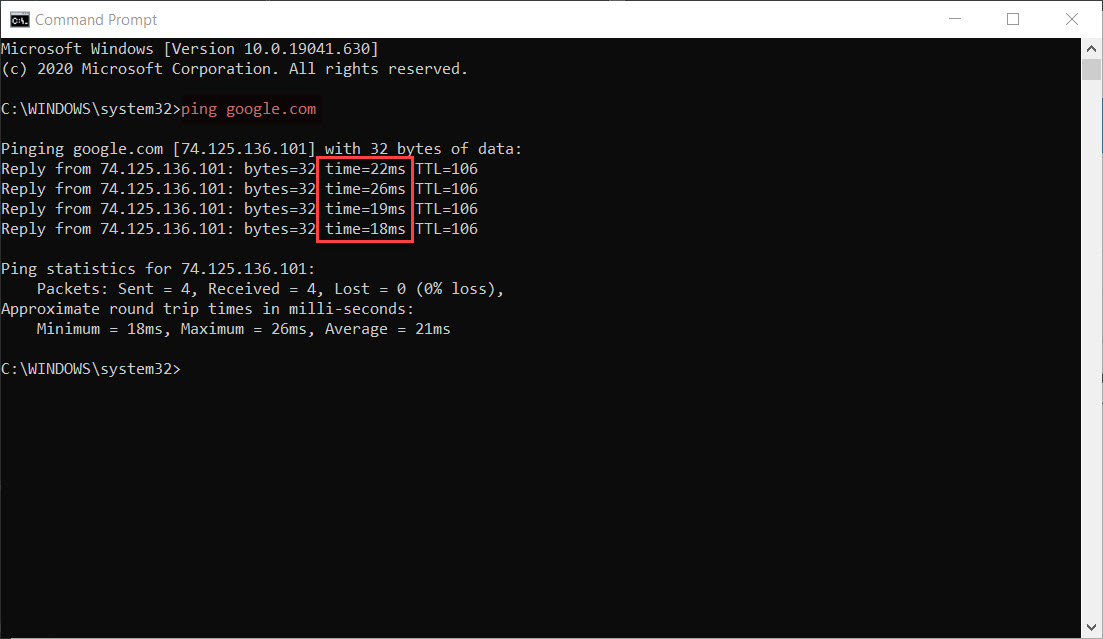 Ping from the Command Prompt in Windows 10