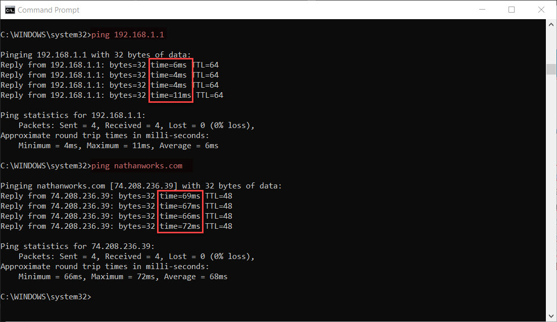 ping time difference between gateway and internet domain