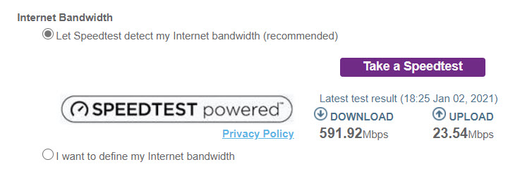 Internet connection speed test from a Netgear router